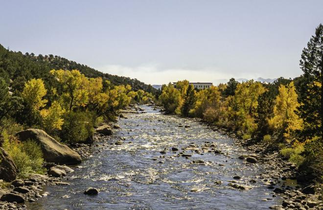 View of river in Buena Vista, Colorado